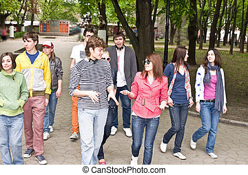 Group of people in city. Outdoor.