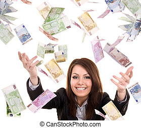 Business women with flying money.
