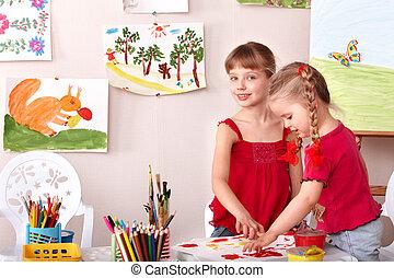 klassificera, målning, konst, barn