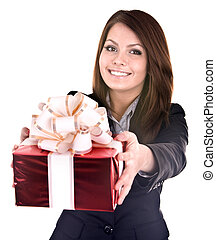 Business woman with gift box Isolated