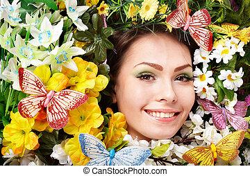 美しい, 蝶, 女の子, ファッション, 花