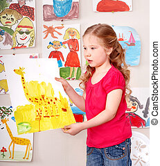 Serious child paint picture. - Serious little girl paint...