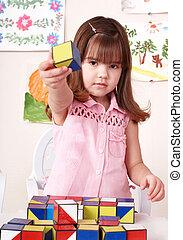 子供, 遊び, ブロック