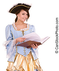 Girl in marquise dress and hat read book Isolated