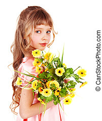 Beautiful girl with spring flower Isolated