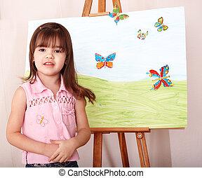 幼稚園, イーゼル, 子供