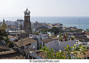 Rooftops and church in Puerto Vallarta - Rooftops and Our...