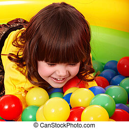 Happy child in group colorful