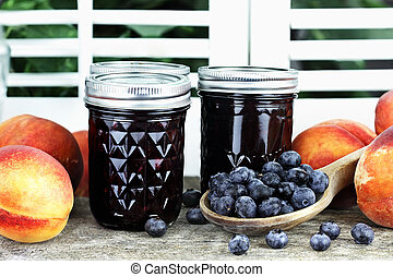Blueberry Peach Preserves - Homemade canned blueberry peach...