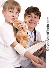 Doctor give first aid of child. Isolated. - Doctor bandage...