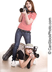Photographer couple with digital camera. Isolated.