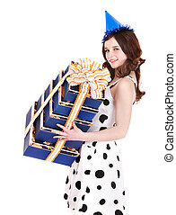 Beautiful girl with group of gift box.