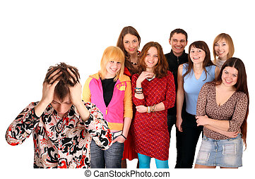 Big group of teenager Problem Isolated