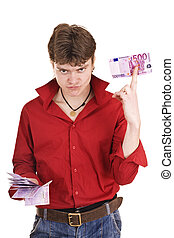 Man in red with money.