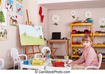 圖片, 刷子, 游戲室, 孩子