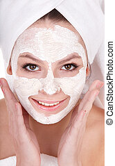 Girl with clay facial mask - Young womanl with clay facial...