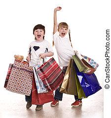 niño, niña, compras, bolsa