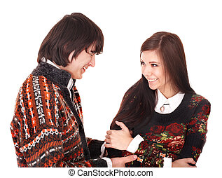 Teenage couple talking on white background - Happy teenage...