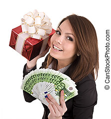 Girl in business suit with money, red gift box Isolated