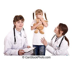 Two pediatrician treat happy child. Medicine.
