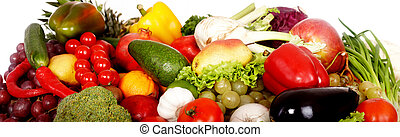 Group of fruit and vegetables. Isolated.