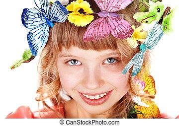 美しい, 蝶, 女の子