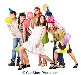 Group of people celebrate birthday.