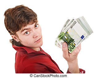 Man in red with money euro.