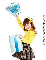 青, 箱, 蝶, 贈り物, 子供