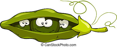 Pod of peas - Cartoon pea pod looks out, vector illustration