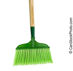 green broom on a white backgound