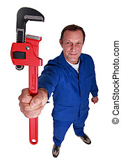 Manual worker with wrench