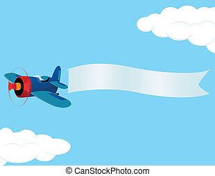 plane_banner - Retro airplane with a banner. Vector...