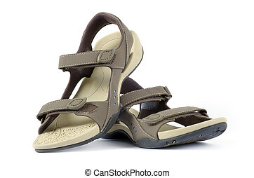 female sandals over white background