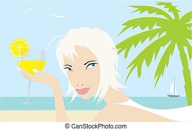 Beach - blondie with a cocktail on the beach
