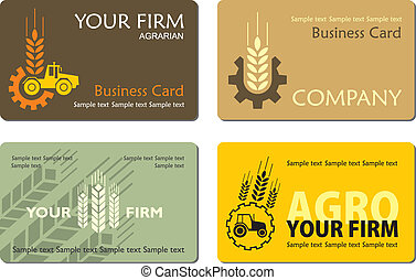 Agro_card - Different agrarian business card, vector
