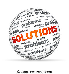 Solutions Sphere - Spehere with the word Solutions on white...