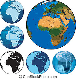 Earth globes - Set of different vector earth globes
