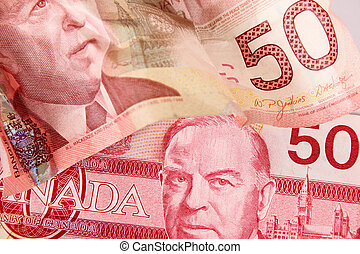 Canadian currency - Old and new fifty dollar notes for...