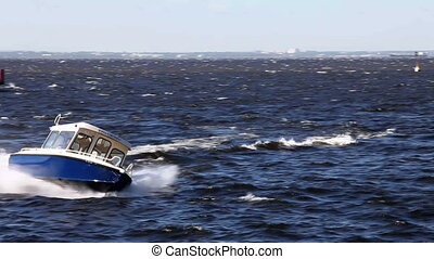motorboat - powerboat moving at high speed