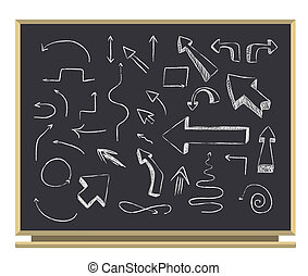 arrows on blackboard
