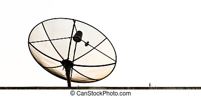 Parabolic satellite dish on roof isolated on white...