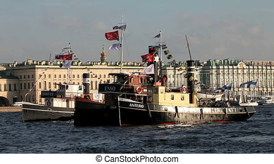 steamship - Old Finnish ship at anchor . Festival steamships...