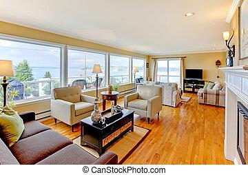 Luxury beautiful large living room iterior design. - Bright...