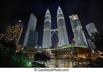 Kuala Lumpur Cityscape at Night - Kuala Lumpur Malaysia...