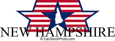 New Hampshire state map, flag, and name