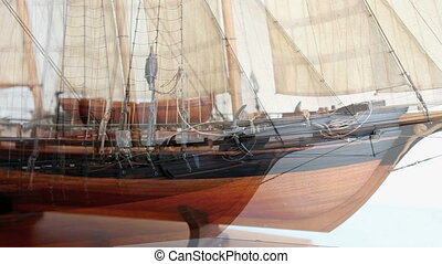 Sailing ship - Model historic sailing ship. Dolly shot...