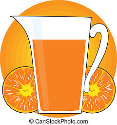 Orange Juice - A glass pitcher of orange juice, is...