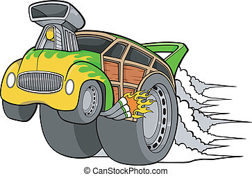 Woody Wagon Racer Car Vector