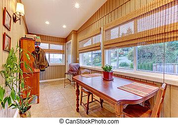 Breakfast balcony room interior. - Bright and cozy breakfast...